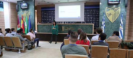 Alumnos de LaLiga Business School en el Estadio La Rosaleda, Málaga (España)